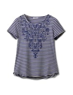 Screen Print Stripe Rib Tee - Misses - Navy - Front