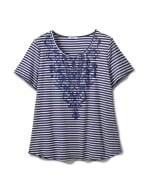 Screen Print Stripe Rib Tee - Plus - Navy - Front