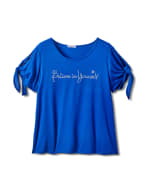 """Believe In Yourself"" Cold Shoulder Tee - Plus - Blue - Front"