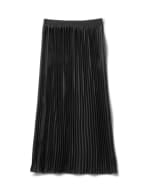 Solid Pleated Skirt With Contrast Elastic Waistband - Black - Back