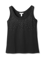 Studded Knit Tank - Black - Front