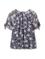 Small Floral Bubble Hem Top - Misses - Navy - Back