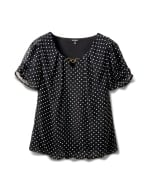 Dot Bubble Hem Woven With Bar - Black/White - Front
