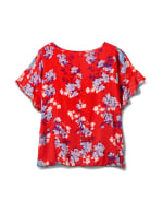 Floral Cold Shoulder Bubble Hem Top - Plus - Red - Back