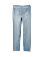 Mid Rise Skinny Pull On Jean Pants - Front And Back Pockets - Bleach - Back