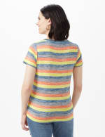 Bright Tie Front Stripe Knit Top - Multi - Back