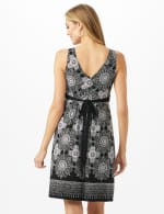 V-Neck Placed Boarder Mixed Print Dress - Black - Back