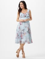 Aqua Floral Emma Style Sleeveless Chiffon Dress - Aqua - Front