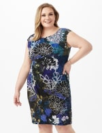 Faux Wrap Floral Print Side Rush Dress - Dark Periwinkle - Front