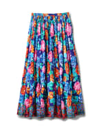 Printed Border Print Crinkle Skirt - Navy - Back