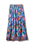 Printed Border Print Crinkle Skirt - Navy - Front