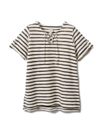 Lace Up Stripe Knit Top - Plus - Black/White - Front