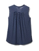 Navy Dot Pintuck Popover - Navy/White - Back