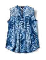 Pre-Order Lace Inset Palm Print Pintuck Popover - Denim - Front