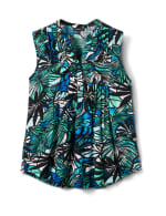 Palm Jaquard Pintuck Popover - Green/Blue - Front