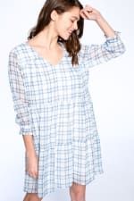 Light Plaid Night Dress - Blue Plaid - Front