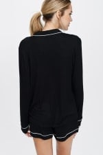 Cozy Nightwear Jacket - Black - Back