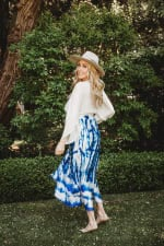 Pre-Order Maxi Skirt in Blue Tie Dye - Blue - Front