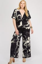 Tie Dye Jumpsuit Front Twist Detail - Black / White - Front