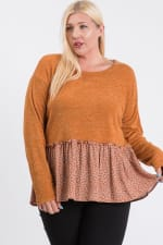 Top With Floral Contrast - Rust - Back