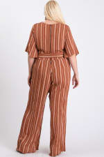 Summer Glam Stripe Jumpsuit - Rust / Cream - Back