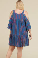 Stripe x Print Short Dress - Denim Blue - Back