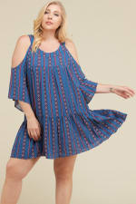 Stripe x Print Short Dress - Denim Blue - Front
