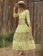 Pre-Order Printed Lace Tiered Maxi Dress - green - Detail