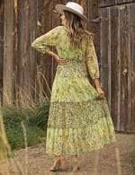 Pre-Order Printed Lace Tiered Maxi Dress - green - Back
