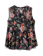 Sleeveless Floral Pintuck Popover - Black/Pink/Red - Front