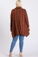 Turtle Neck Cozy Stripped Top - Rust / Black - Back