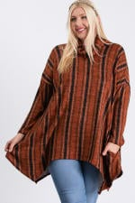 Turtle Neck Cozy Stripped Top - Rust / Black - Front
