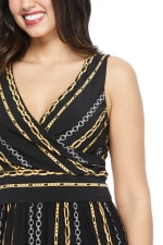 Pre-Order  Whitney Chain Stripe Jumpsuit - Black/Gold - Detail
