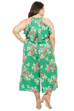 Meadow Halter Ruffle Sleeve Jumpsuit - Green/Multi - Back