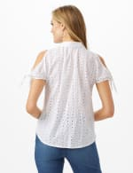 Eyelet Button Front Shirt - White - Back