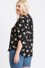 V-Neck Floral Top - Black - Back