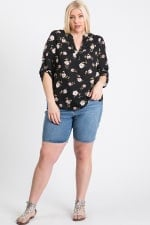 V-Neck Floral Top - Black - Front
