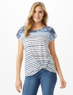 Denim Friendly Knot Front Mix Floral Stripe Top - White/Blue - Front