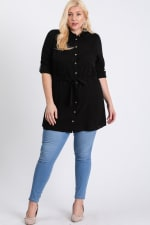 Buttoned Shirt Dress - Black - Front