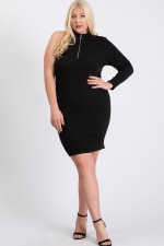 One-Shoulder Sexy Dress - Black - Front