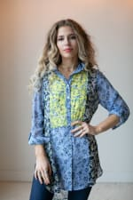 Floral Button Front Mixed Media Blouse - Blue/Yellow - Front