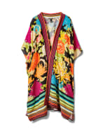 Floral Border Print Duster Kimono - Red - Front