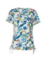 Caribbean Joe® Side Ruched Knit Top - White/Floral - Front