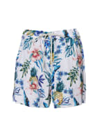 Caribbean Joe® Tropical Pull-On Shorts - Blue - Front