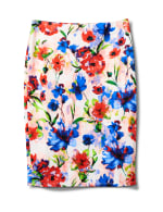 Printed Pull On Scuba Crepe Skirt - Sugar Swizzle - Front