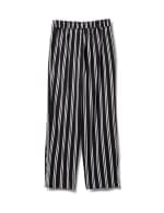 Striped Soft Pant with Elastic Waist, Soft Tie Belt - Black/white - Back