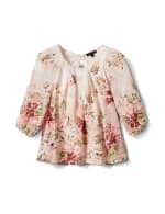 Petite Floral Border Pleated Blouse - Tan/Mauve - Front