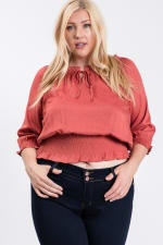 Off-shoulder x Smocking Cropped Top - Terracotta - Front