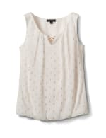 3 Ring Sleeveless Foil Bubble Hem Blouse - Off White/Gold - Front
