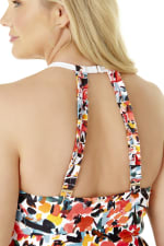 Anne Cole® Sunset Floral Hi Neck One Piece Swimsuit - Multi - Detail